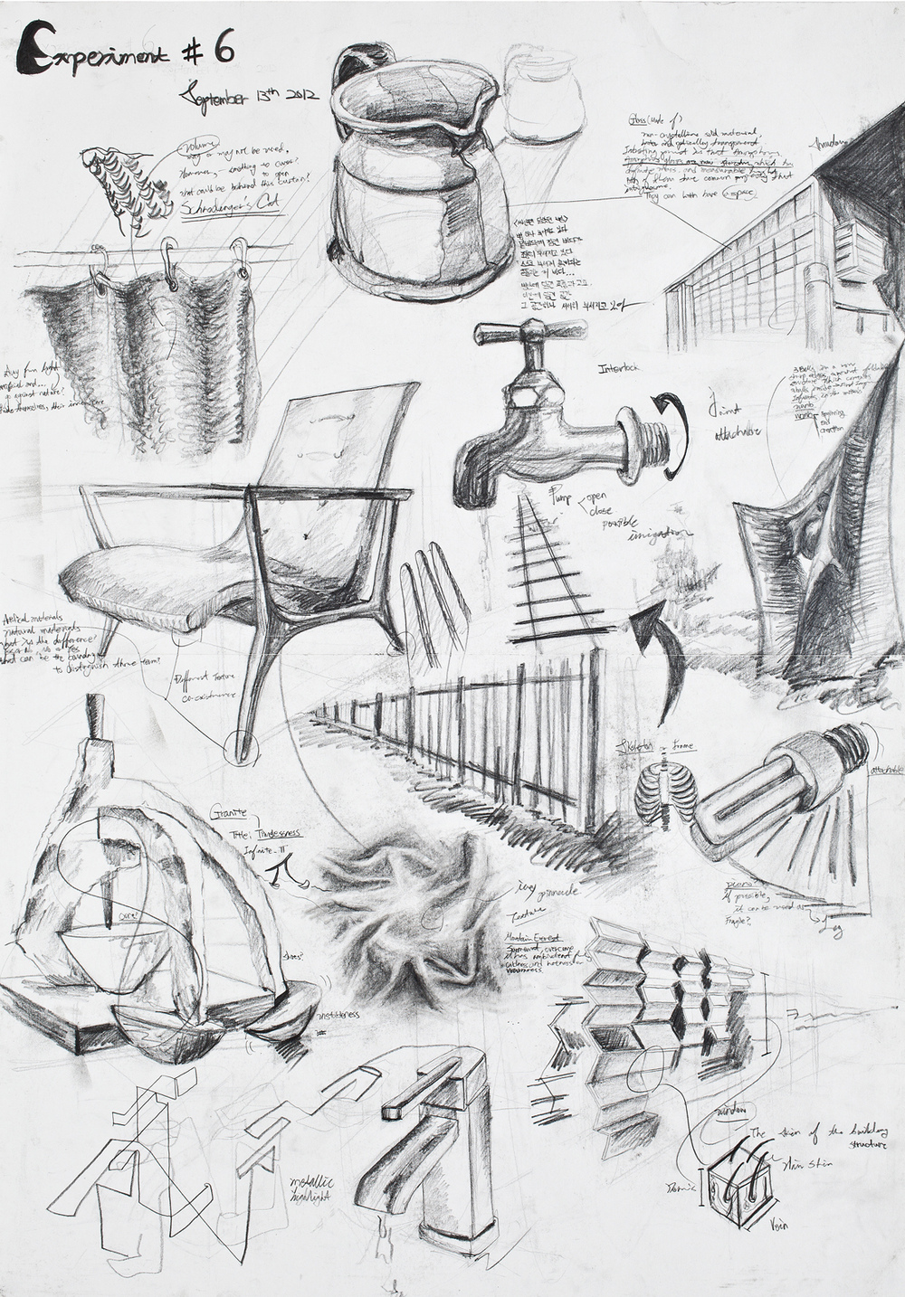 sunyoungna - This is the experimental piece that shows the process -- 2d to 3d dimensional art -- to represent sound or music. I drew random objects that has different textures and functions.