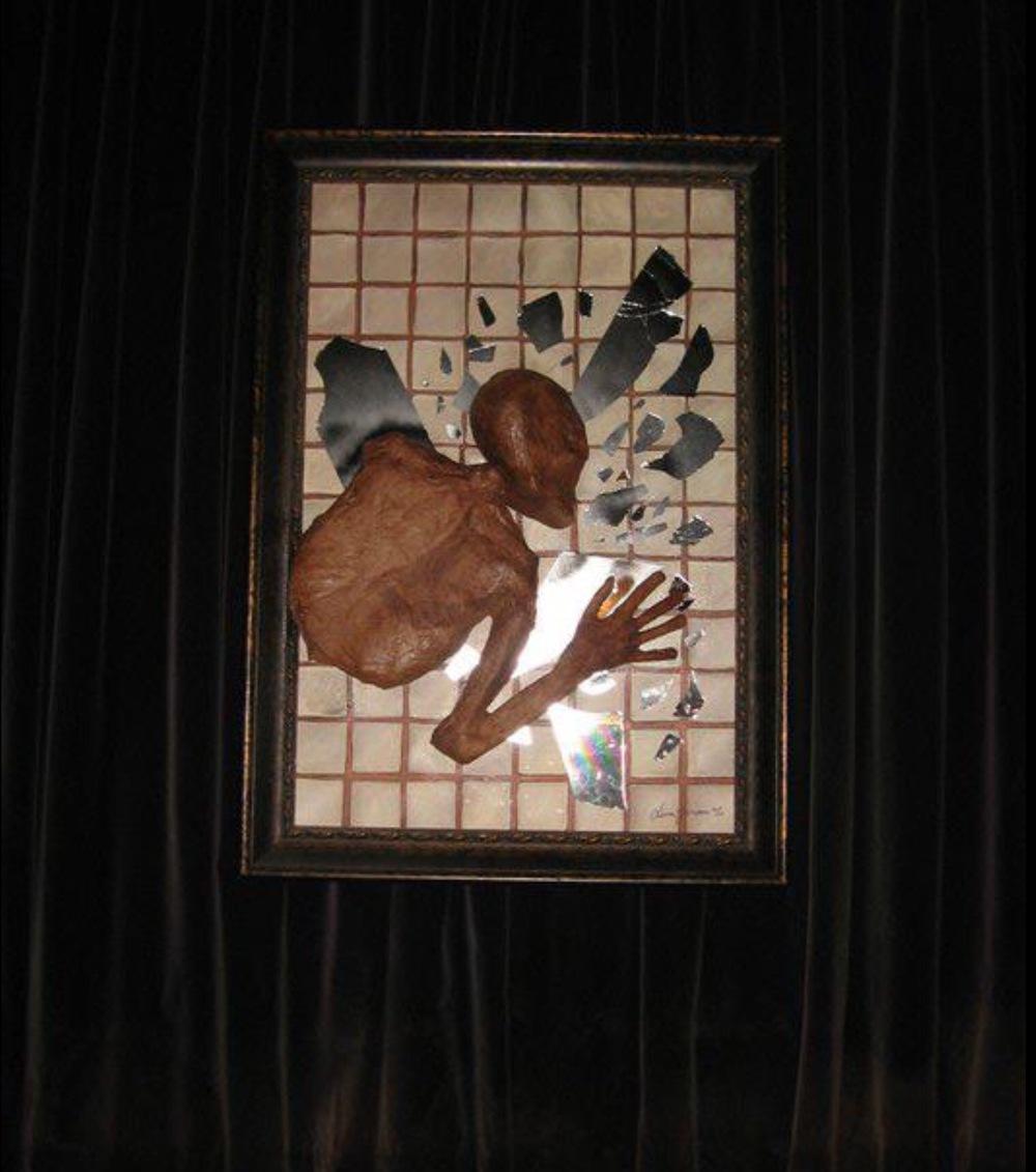Bespoke Art by Liisa Garceau - Decomposing body 3D mixed media; broken mirror, paper & acrylic paint on canvas.