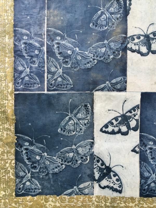 DIANA DAYMOND ART AND DESIGN - INDIGO BUTTERFLY QUILT DETAIL