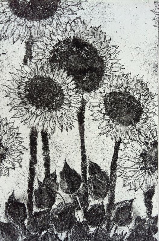 DIANA DAYMOND ART AND DESIGN - BLACK SUNFLOWERS