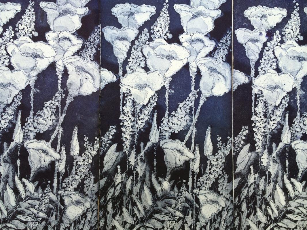 DIANA DAYMOND ART AND DESIGN - INDIGO POPPY FIELD