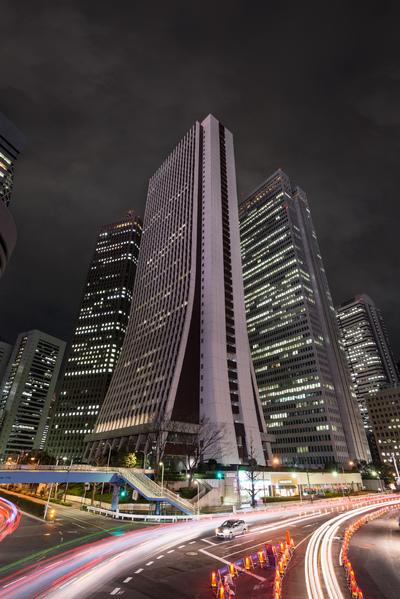 View of skyscrapers in Nishi-Shinjuku at night, Tokyo, Japan