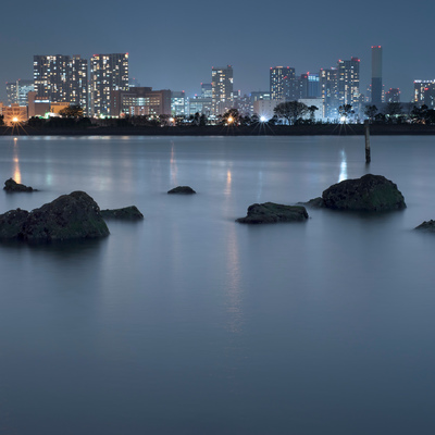 Night view of Tokyo cityscape from the bay in Odaiba, Tokyo, Japan