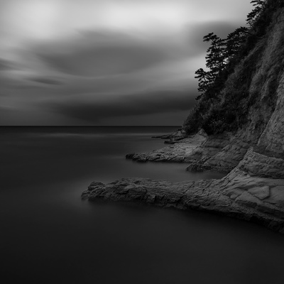 Cliff and sea rocks above the sea at Inamuragasaki, Kanagawa Prefecture, Japan