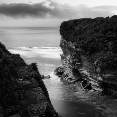 Cliff over the sea in the morning at Ubara beach, Chiba Prefecture, Japan